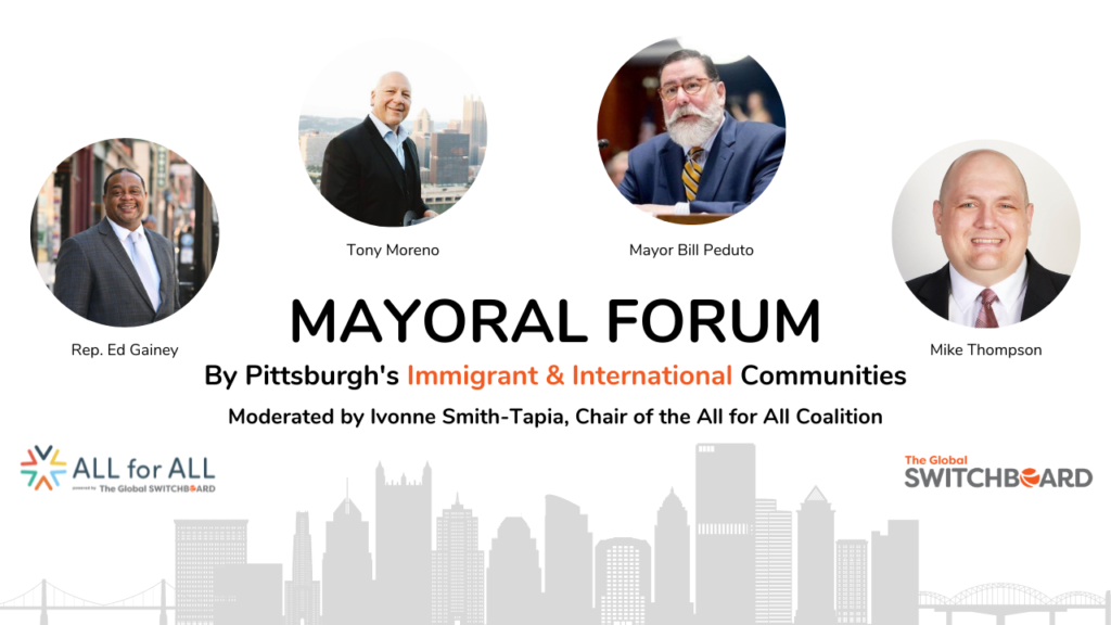 Mayoral Forum title image with the faces and names of all four candidates